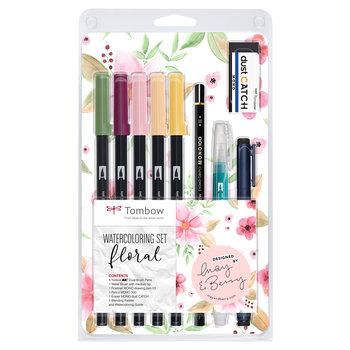 TOMBOW WCS-FL Set d'aquarelle floral (Contenu: 1x ABT-192, 757, 772, 910, 991; WS-EFL03; MONO-100-H; EN-DC; WB-ME-1P; palette pour le mélange; notice)