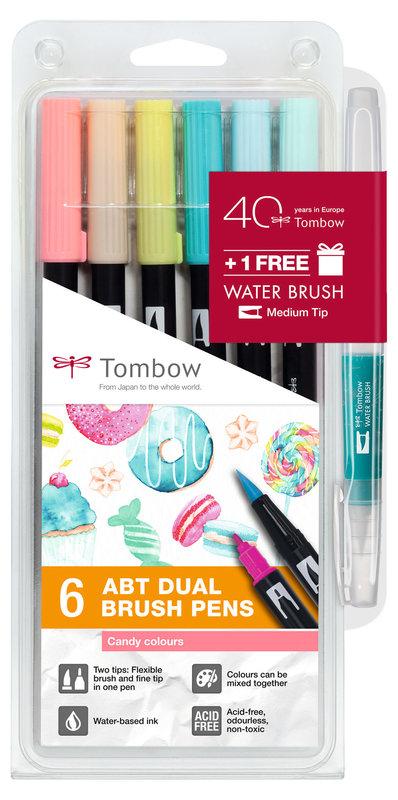 TOMBOW ABT-6P-4 Feutres pinceaux Dual Brush Pen Kit de 6, Candy Colours (respectivement 1x ABT-131, 291, 401, 403, 803, 910)