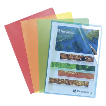 EXACOMPTA Sachet 10 pochettes coin polypropylène grainé 12/100e - A4 - Couleurs assorties