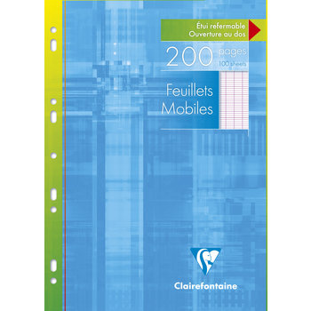 CLAIREFONTAINE Feuilles mobiles grands carreaux - 21x29,7 - 200 pages