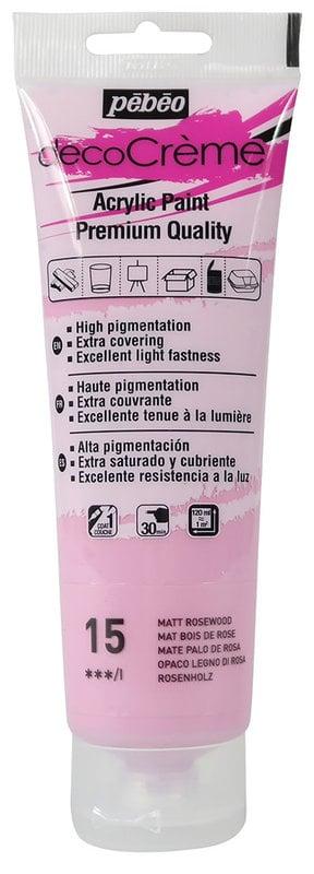 PEBEO Peinture acrylique decoCrème 120 ml - Bois de rose