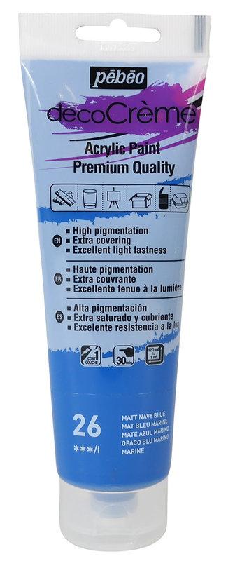 PEBEO Peinture acrylique decoCrème 120 ml - Bleu marine