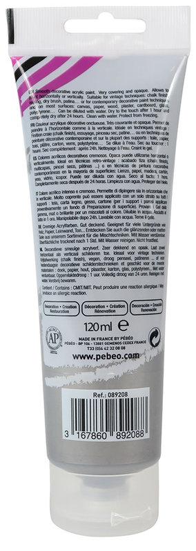PEBEO Peinture acrylique decoCrème 120 ml - Nacré Argent