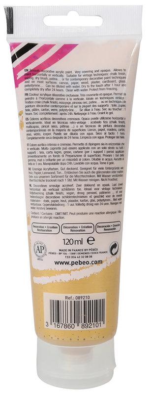 PEBEO Peinture acrylique decoCrème 120 ml - Nacré Or