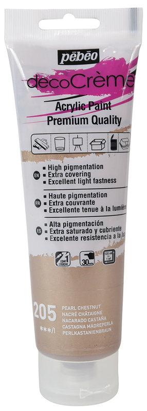 PEBEO Peinture acrylique decoCrème 120 ml - Nacré Châtaigne