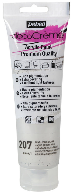 PEBEO Peinture acrylique decoCrème 120 ml - Nacré Argent pâle