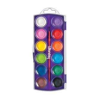 WONDAY Boite de 12 pastilles de couleur + 1 pinceau