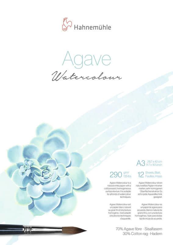 HAHNEMUHLE Agave Papier Aquarelle - Natural Line 290g/m² A3 12feuilles