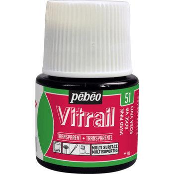 PEBEO Peinture Vitrail transparente - 45 ml - Rose vif