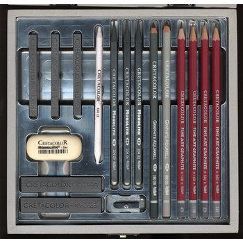 CRETACOLOR Coffret bois Beaux Arts Silver Box 17 pièces