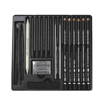 CRETACOLOR Coffret bois Beaux Arts Black Box 20 pièces