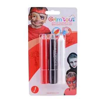 GRIM'TOUT Blister de 3 sticks maquillage Pirate/Vampire