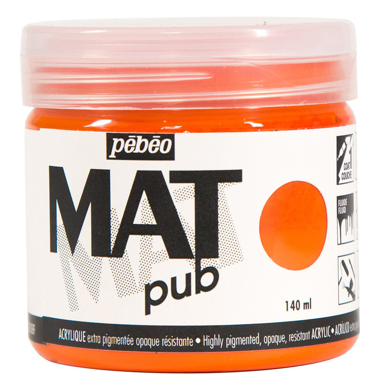 PEBEO Acrylique Mat Pub 140 ml - Orange vif