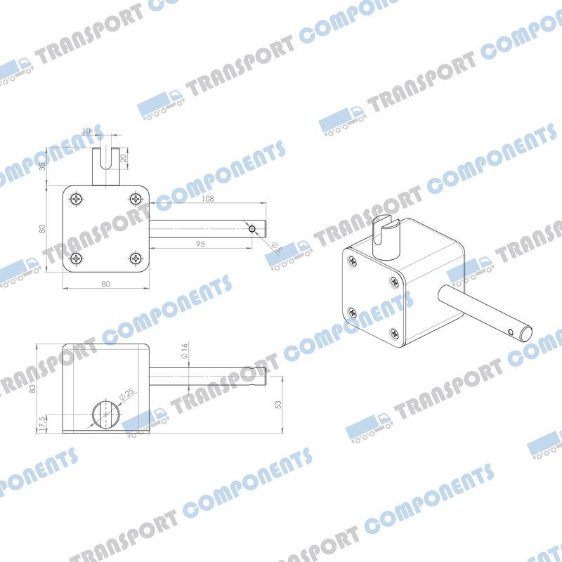 Worm gearbox 80x80x80, Output slot
