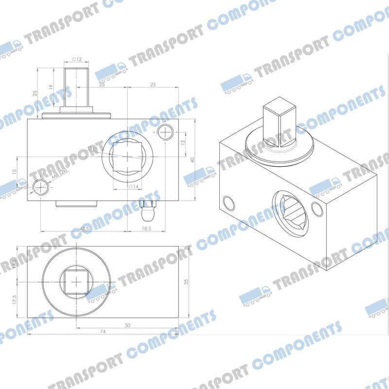 R30 spanngetriebe, vierkant 12x12mm