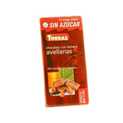 Torras Melkchocolade zonder toegevoegde suiker met noten 1pc