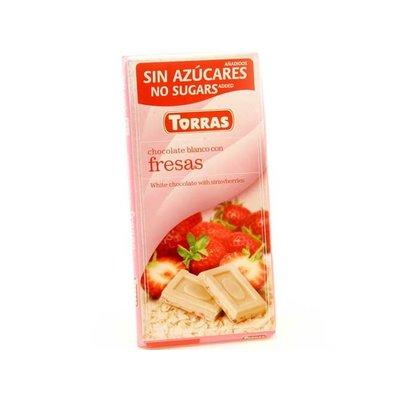 Torras Witte chocolade met aardbeien zonder toegevoegde suikers 1pc