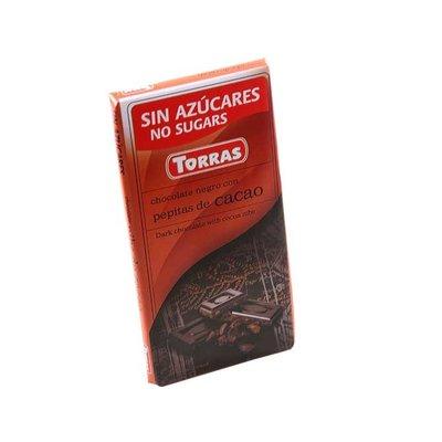 Torras Pure chocolade met cacaobonen zonder toegevoegde suikers 1pc