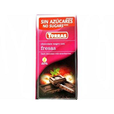 Torras Pure chocolade aardbei zonder toegevoegde suikers 1pc