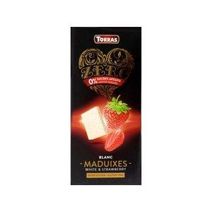 Torras Zero! Witte chocolade met aardbeien 1pc zonder toegevoegde suikers