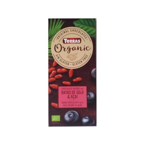 Torras Biologische pure chocolade met goji bessen en acai poeder 1pc