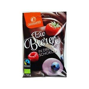 Landgarten Biologische gevriesdroogde bessen/frambozen/aardbeien omhuld door pure chocolade