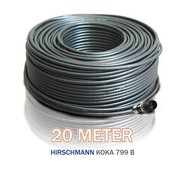 Hirschmann 20 meter coax Hirschmann Koka 799 zwart met 1 x PCT connector