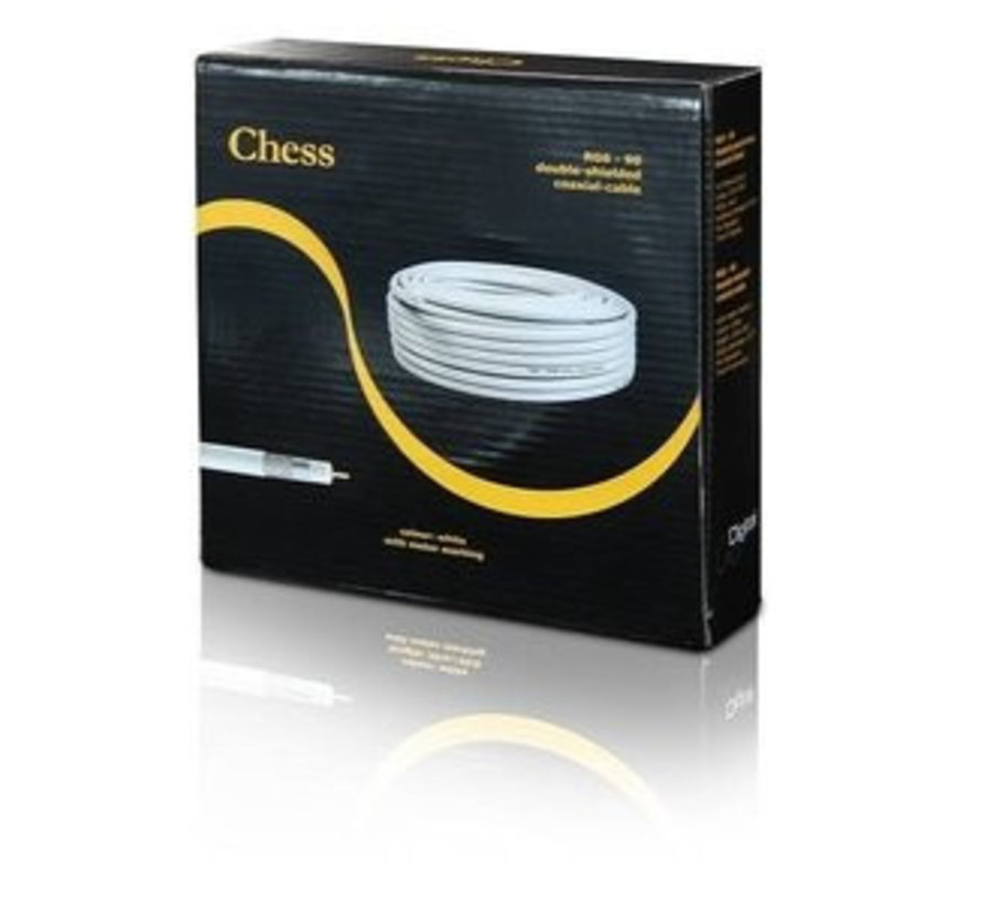 Coax kabel 50 meter wit 90db Chess