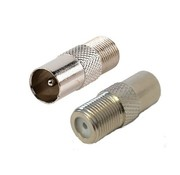 verloop F-connector female en Coax plug male