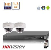 Hikvision Hikvision HD 1.3 MP camerasysteem met 2x IP Dome Camera