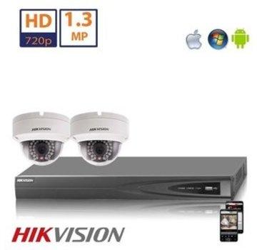 Hikvision Hikvision HD 1.3 MP camerasysteem met 2x IP Dome Camera