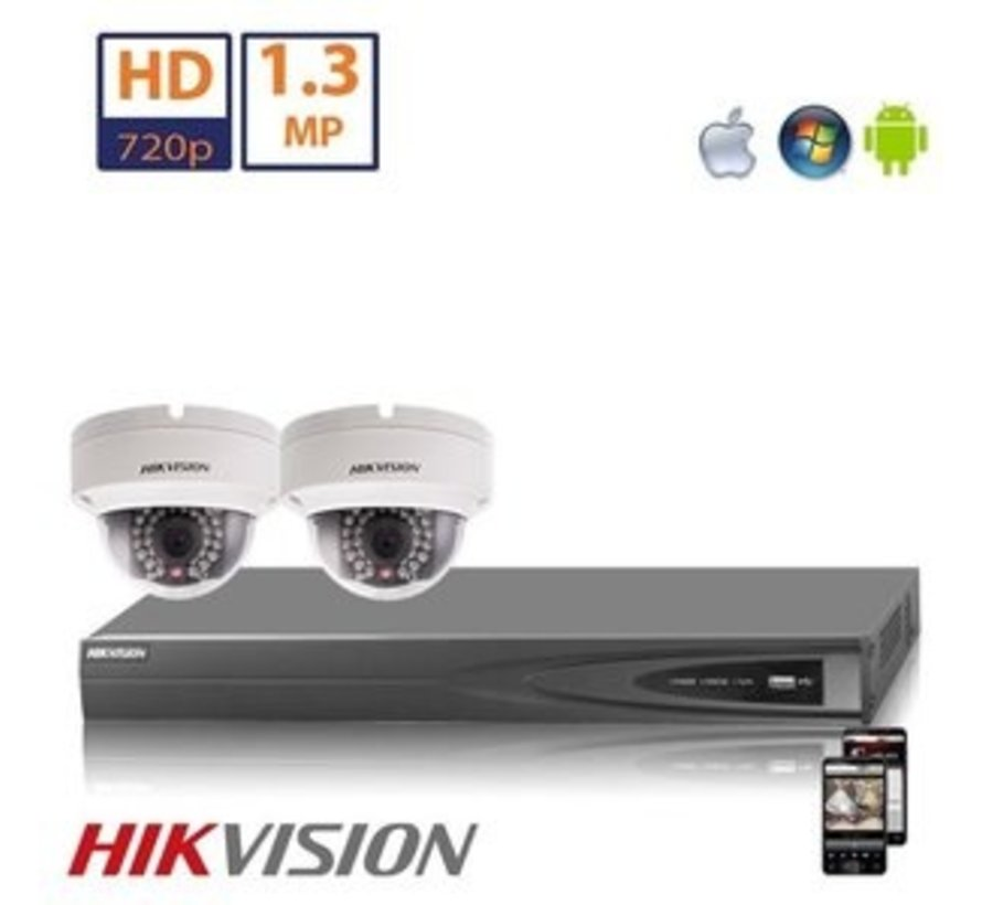 Hikvision HD 1.3 MP camerasysteem met 2x IP Dome Camera