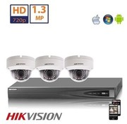 Hikvision Hikvision HD 1.3 MP camerasysteem met 3x IP Dome Camera