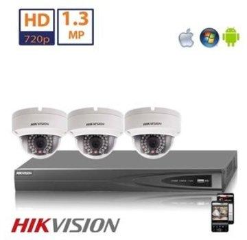 Hikvision Hikvision HD 1.3 MP camerasysteem met 3x IP Dome Camera
