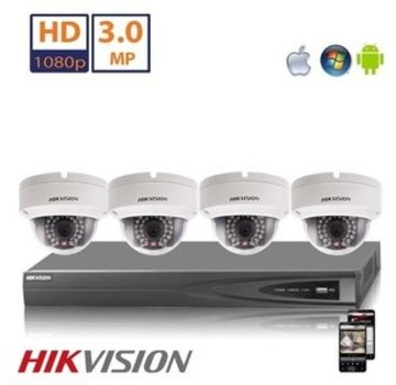 Hikvision Hikvision Full HD 4.0 MP camerasysteem met 4x IP Dome Camera