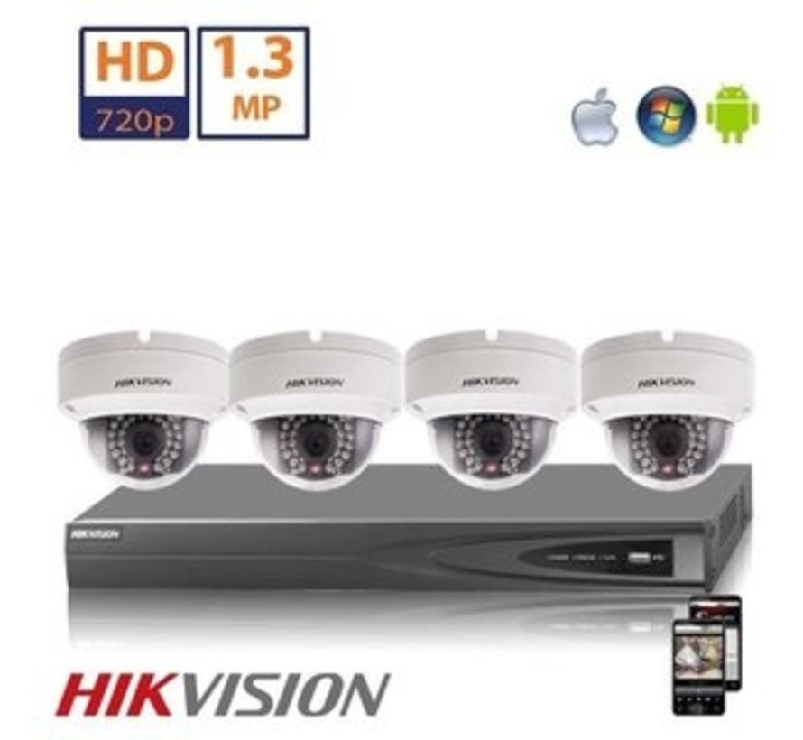 Hikvision HD 2 MP camerasysteem met 4x IP Dome Camera