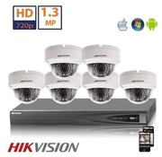 Hikvision Hikvision HD 1.3 MP camerasysteem met 6x IP Dome Camera