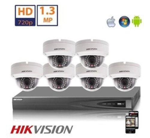 Hikvision Hikvision HD 1.3 MP camerasysteem met 6x IP Dome Camera