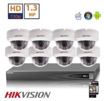 Hikvision Hikvision HD 1.3 MP camerasysteem met 8x IP Dome Camera