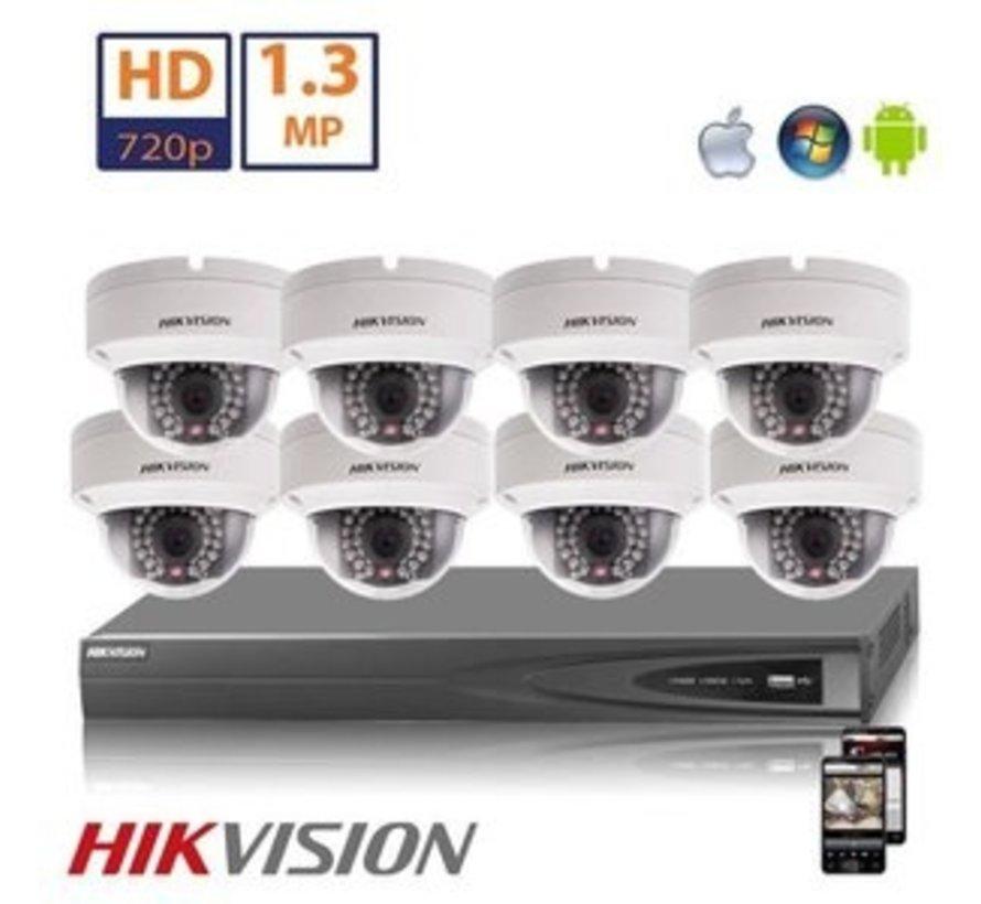 Hikvision HD 1.3 MP camerasysteem met 8x IP Dome Camera