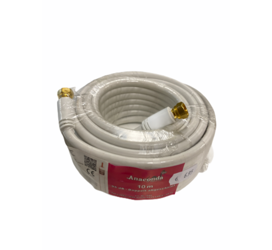 10 meter coax kabel met 2 f-connector stekkers