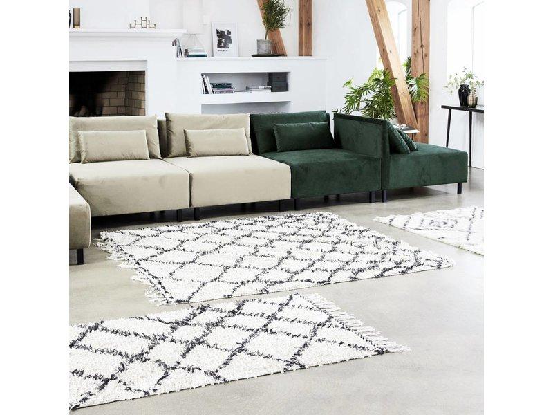 House Doctor Zena matta 180x180 cm bomull vit och svart
