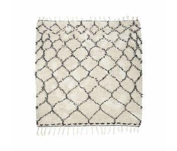 House Doctor Zena Teppich 180x180 cm Baumwolle weiß und schwarz