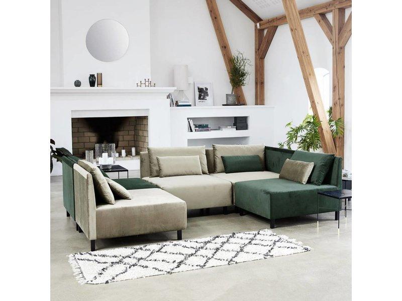 House Doctor Riba vloerkleed 90x200 cm katoen wit en zwart
