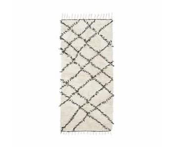 House Doctor Riba rug 90x200 cm cotton white and black