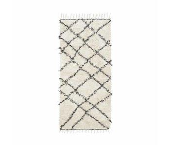 House Doctor Tapis Riba 90x200 cm coton noir et blanc