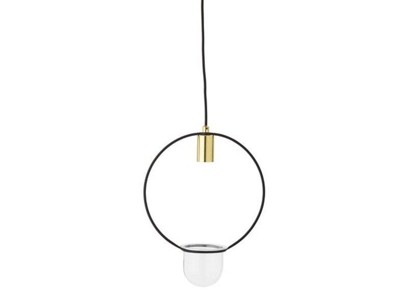 Bloomingville Hængende lampe guld færdig glas