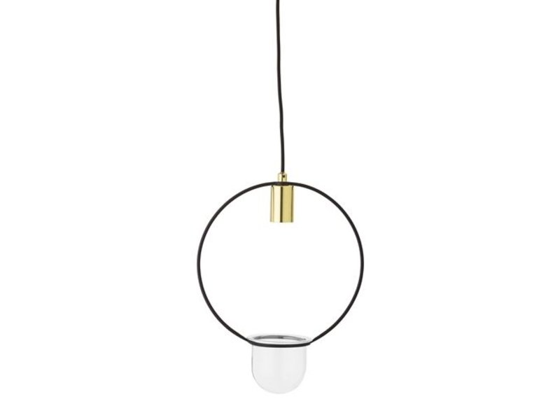 Bloomingville Hanglamp gold finish glas