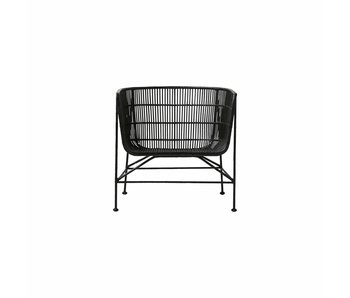 House Doctor Coon rattan lounge chair black