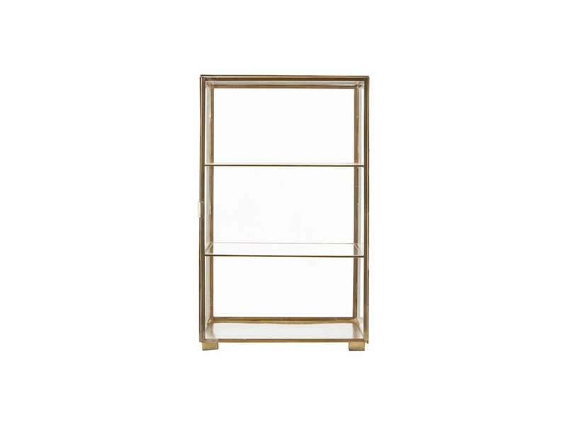House Doctor Cabinet brass with two glass shelves